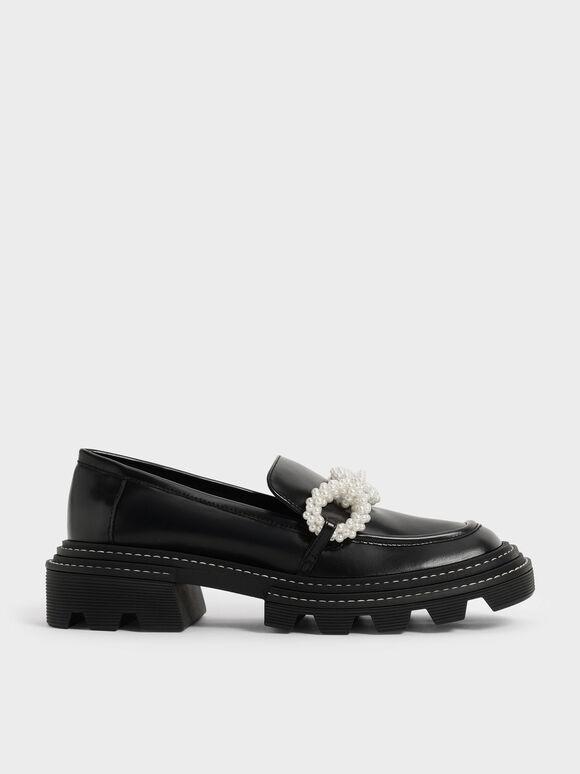 Perline 珍珠飾鍊樂福鞋, 黑色, hi-res