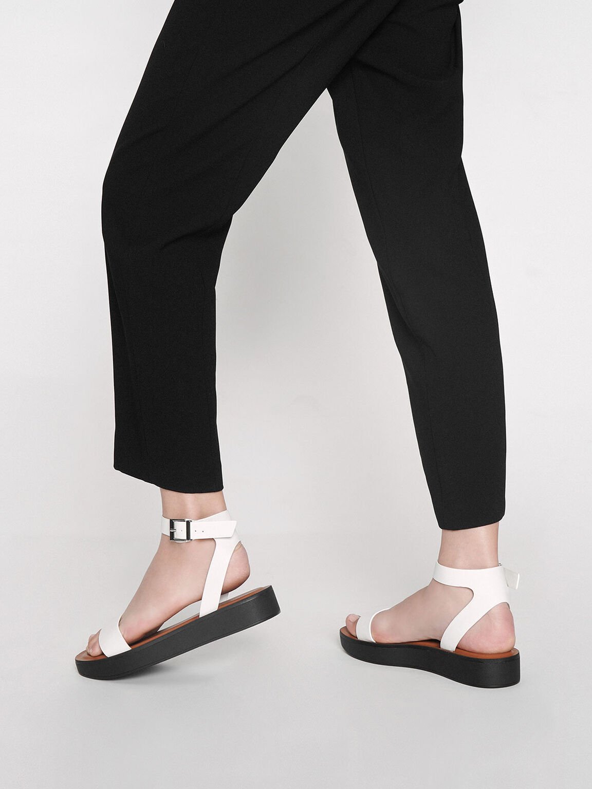 Ankle Strap Platform Sandals, White, hi-res