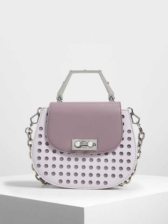 Geometric Top Handle Saddle Bag, Lilac, hi-res