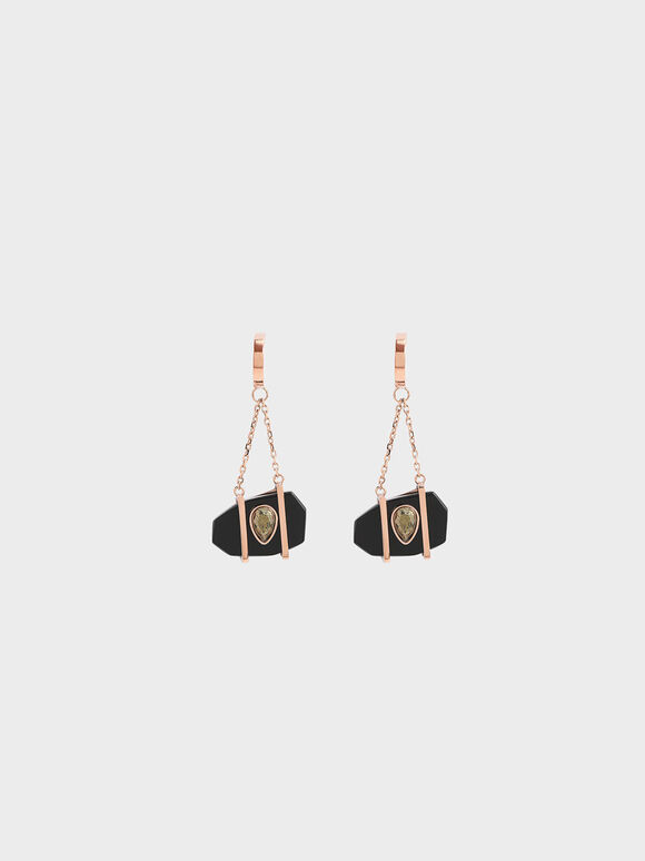 Onyx & Pyrite Gemstone Drop Earrings, Black, hi-res