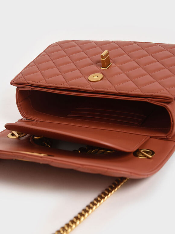 Quilted Turn-Lock Clutch, Clay, hi-res