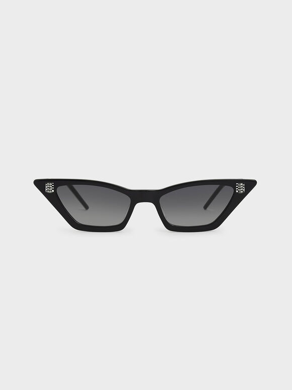 Thick Frame Cat-Eye Sunglasses, Black, hi-res