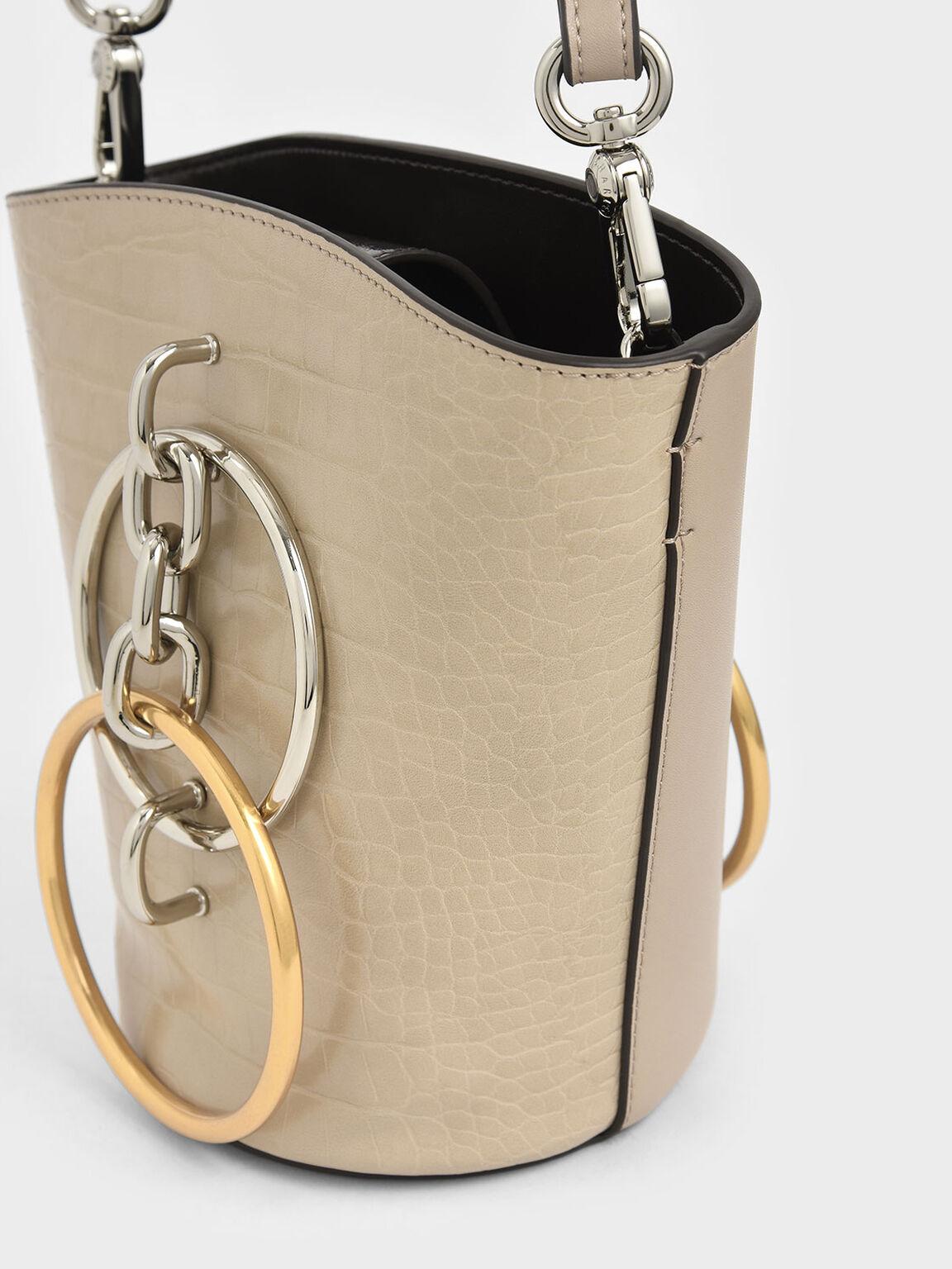 Croc-Effect Bracelet Bucket Bag, Beige, hi-res