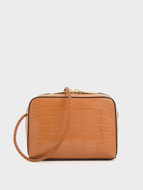Croc-Effect Mini Rectangular Crossbody Bag, Tan, hi-res