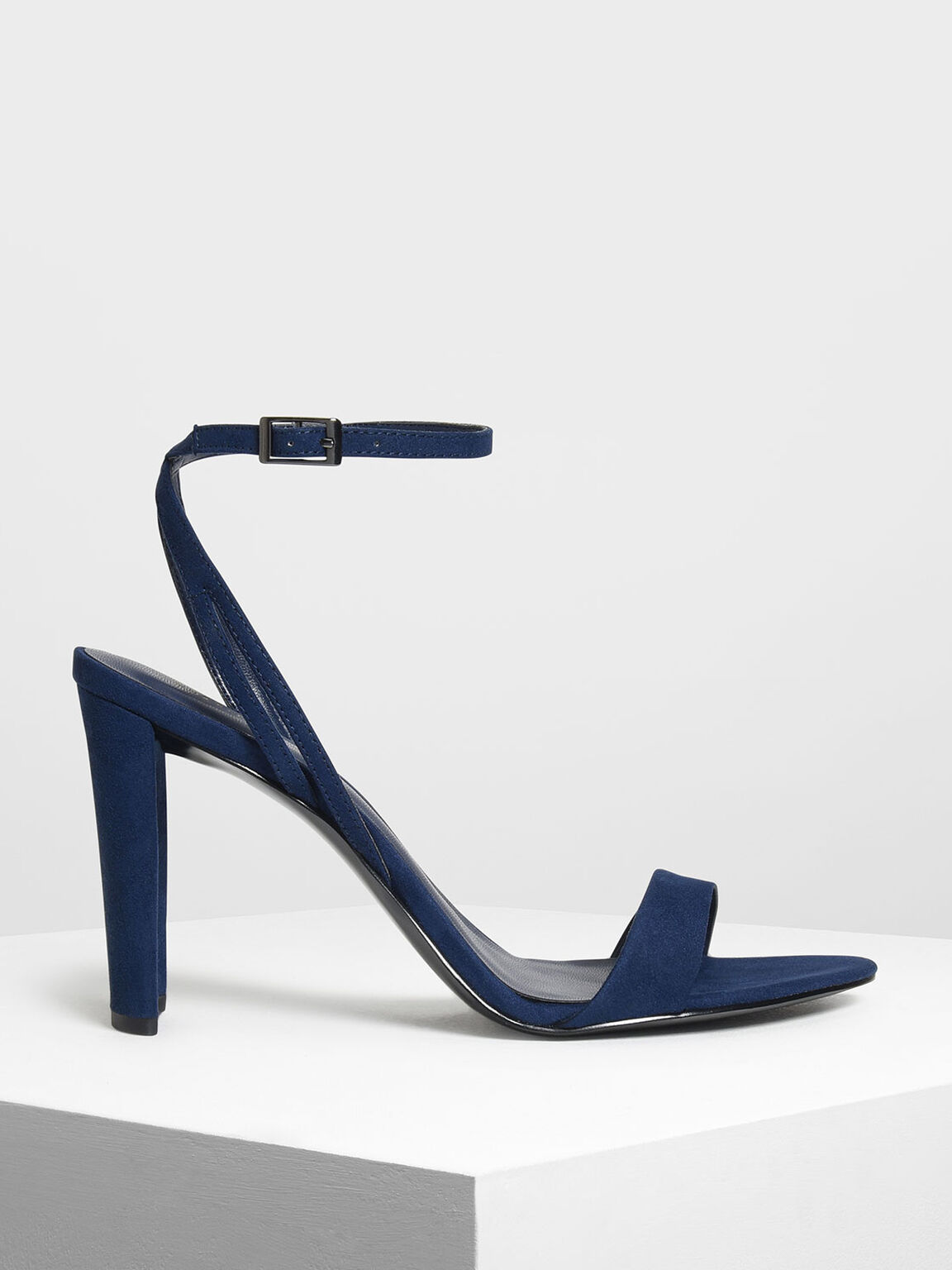 Ankle Strap Heeled Sandals, Dark Blue, hi-res