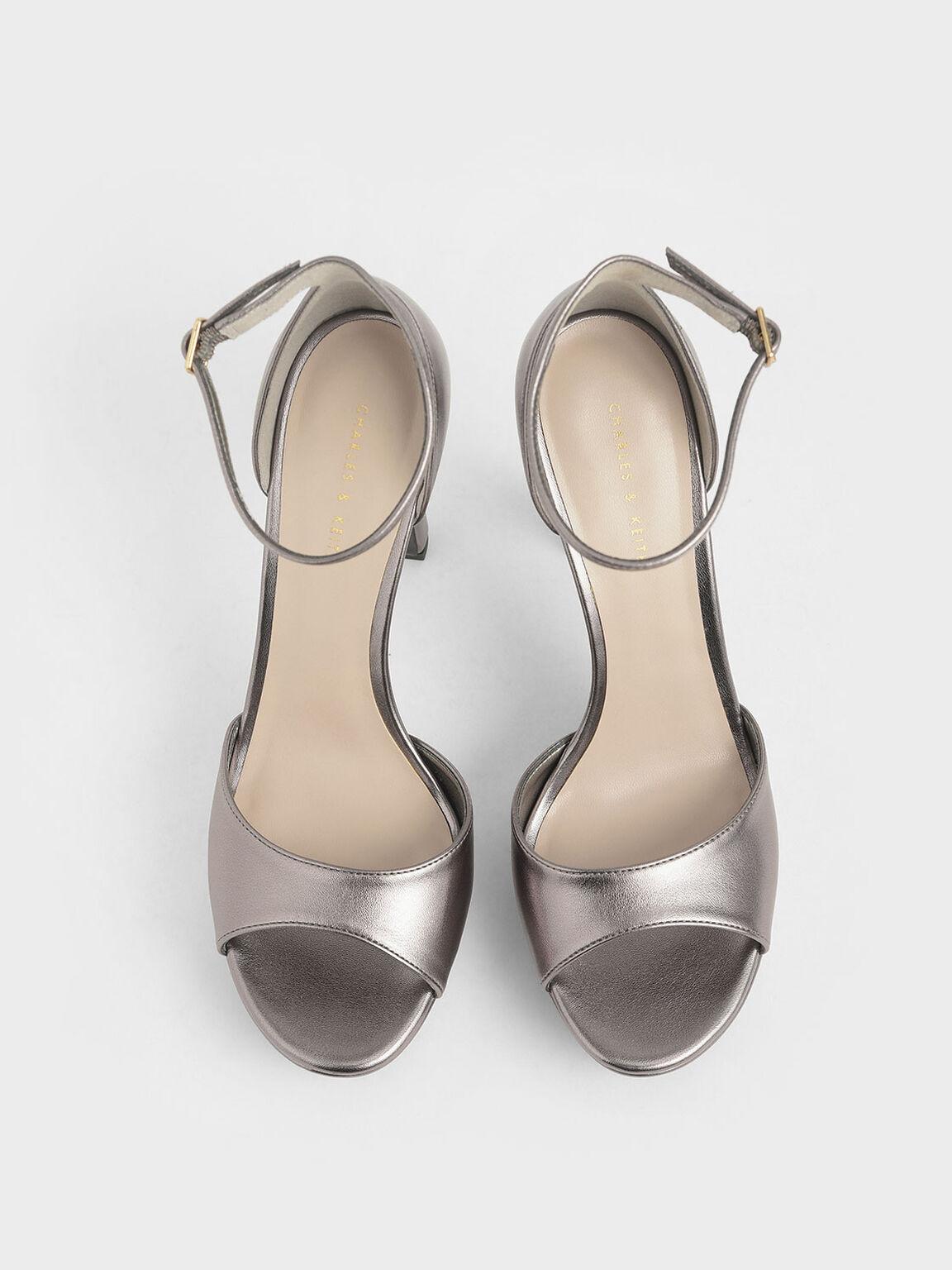 Metallic Platform Stiletto Heels, Pewter, hi-res