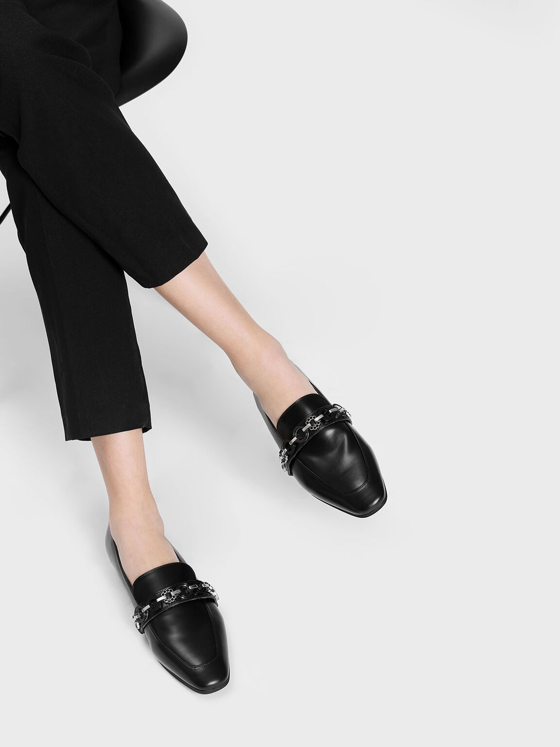 Chain Detail Loafers, Black, hi-res