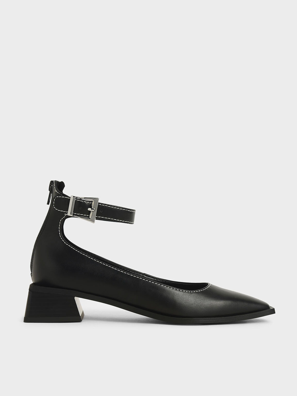 Ankle Strap Square Toe Pumps, Black, hi-res