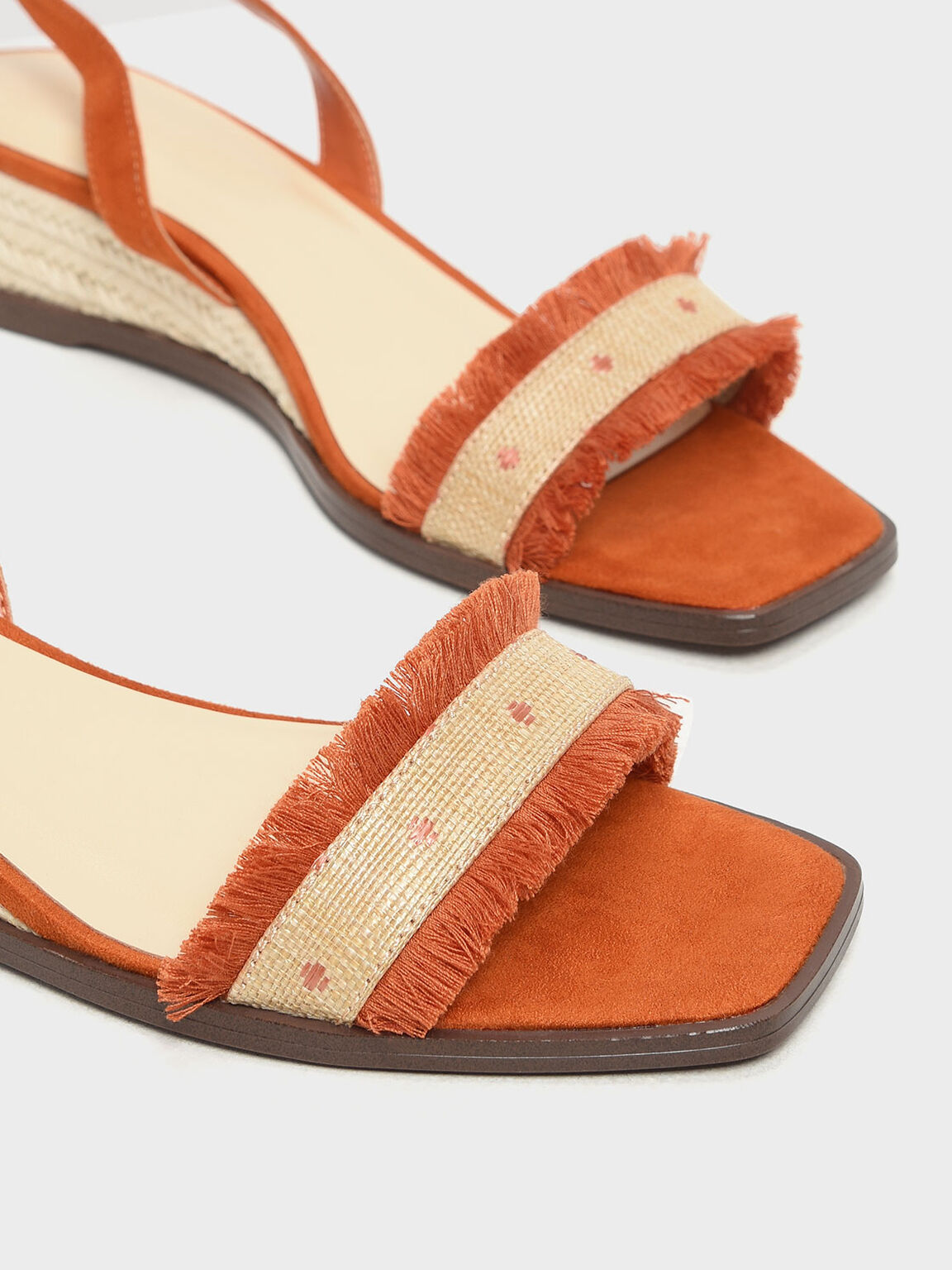 Raffia Lace-Up Espadrille Wedges, Orange, hi-res