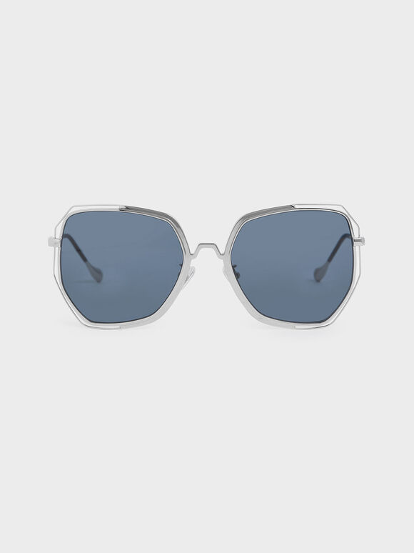 Two-Tone Butterfly Sunglasses, Dark Blue, hi-res