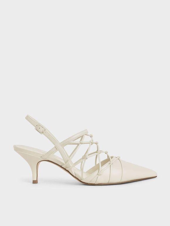 Caged Slingback Pumps, Cream, hi-res