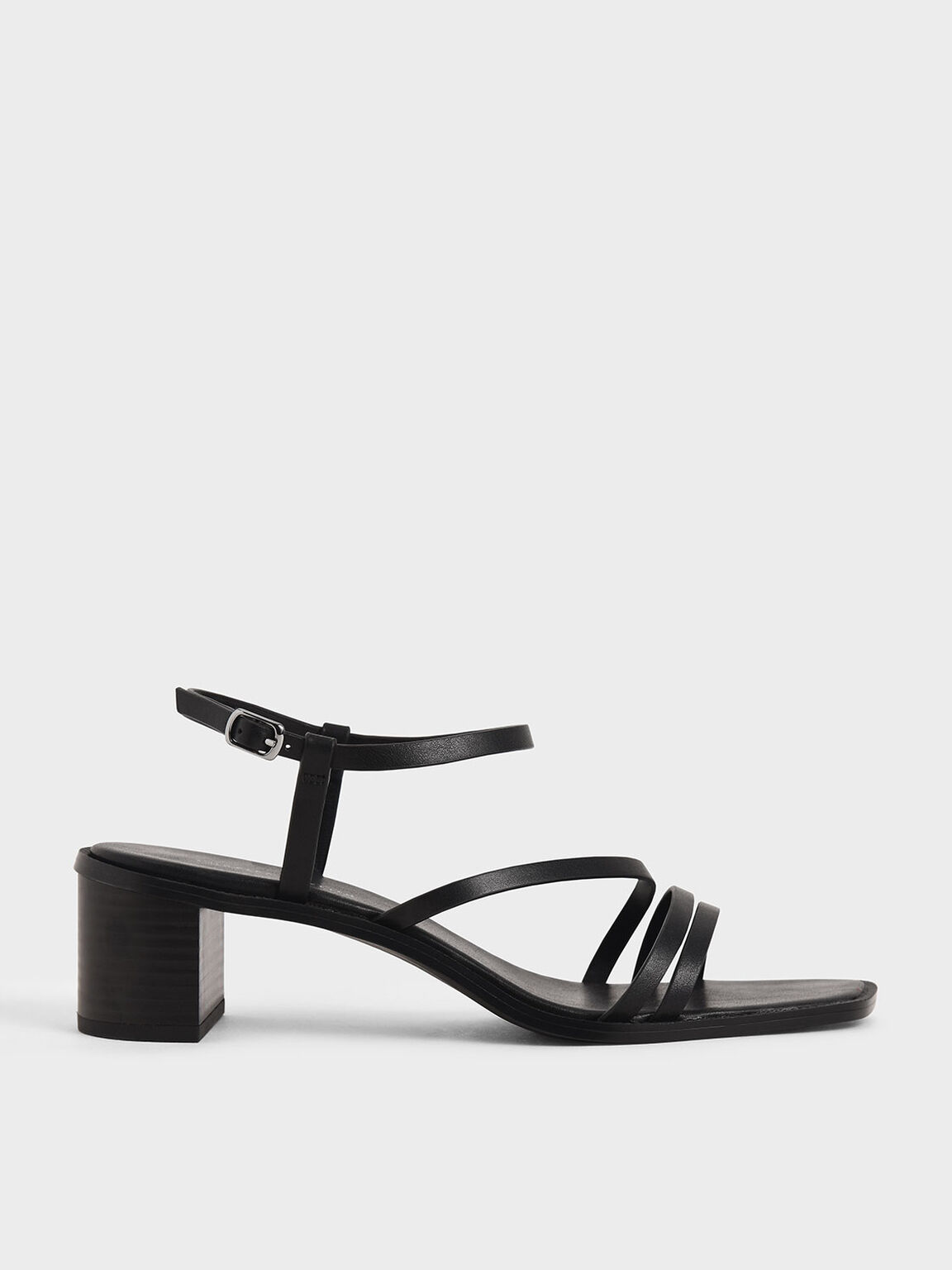 Strappy Open Toe Heeled Sandals, Black, hi-res