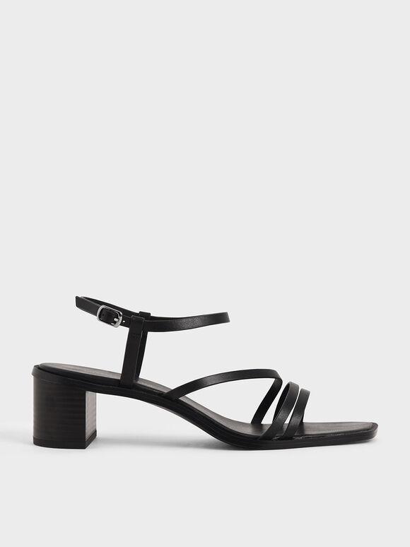 Strappy Open Toe Heeled Sandals, Black, hi-res