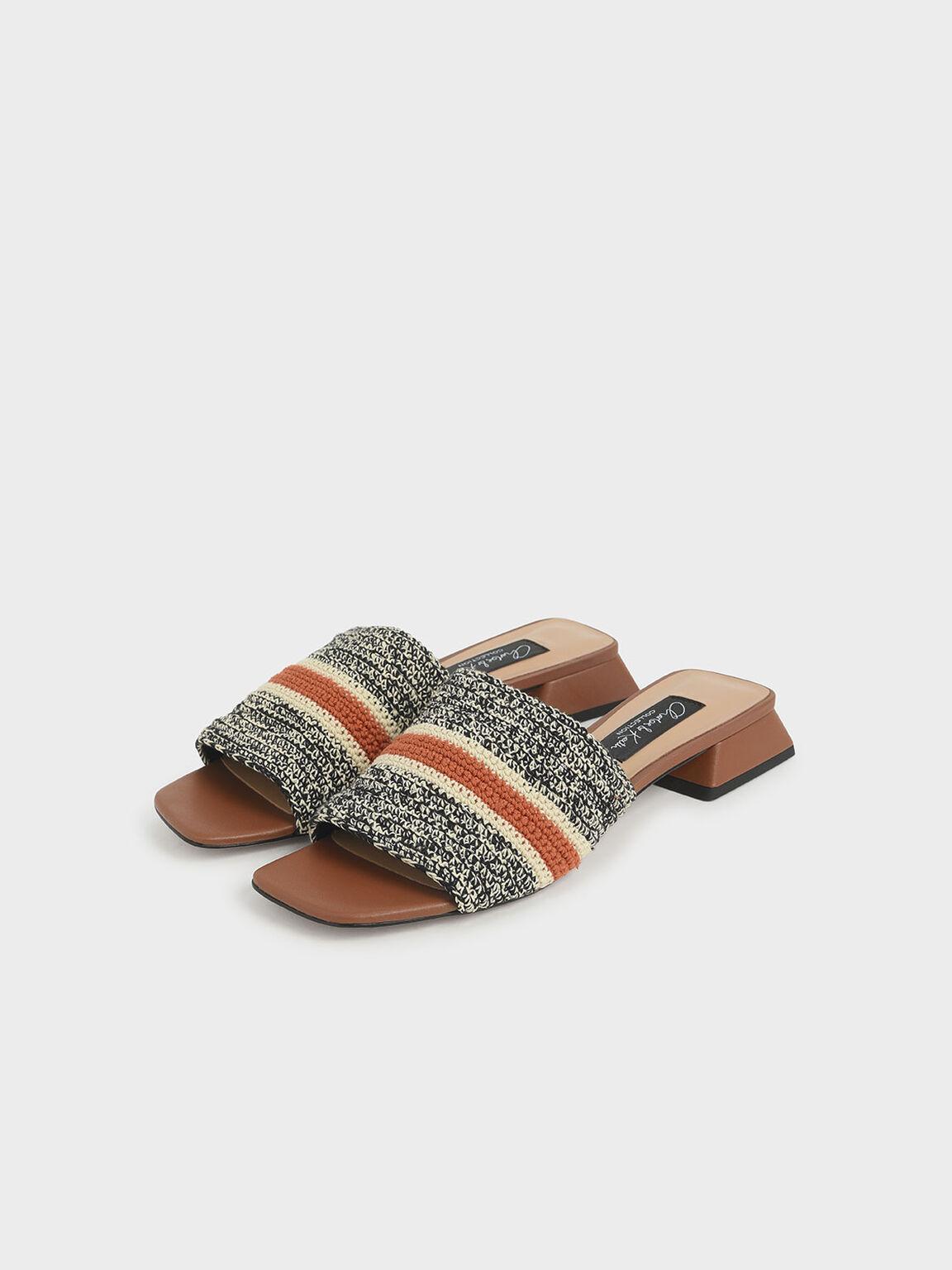 Crochet Mules, Brown, hi-res