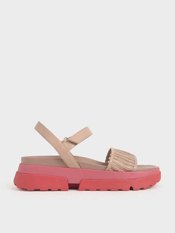 Mesh Chunky Sole Sandals, Nude, hi-res