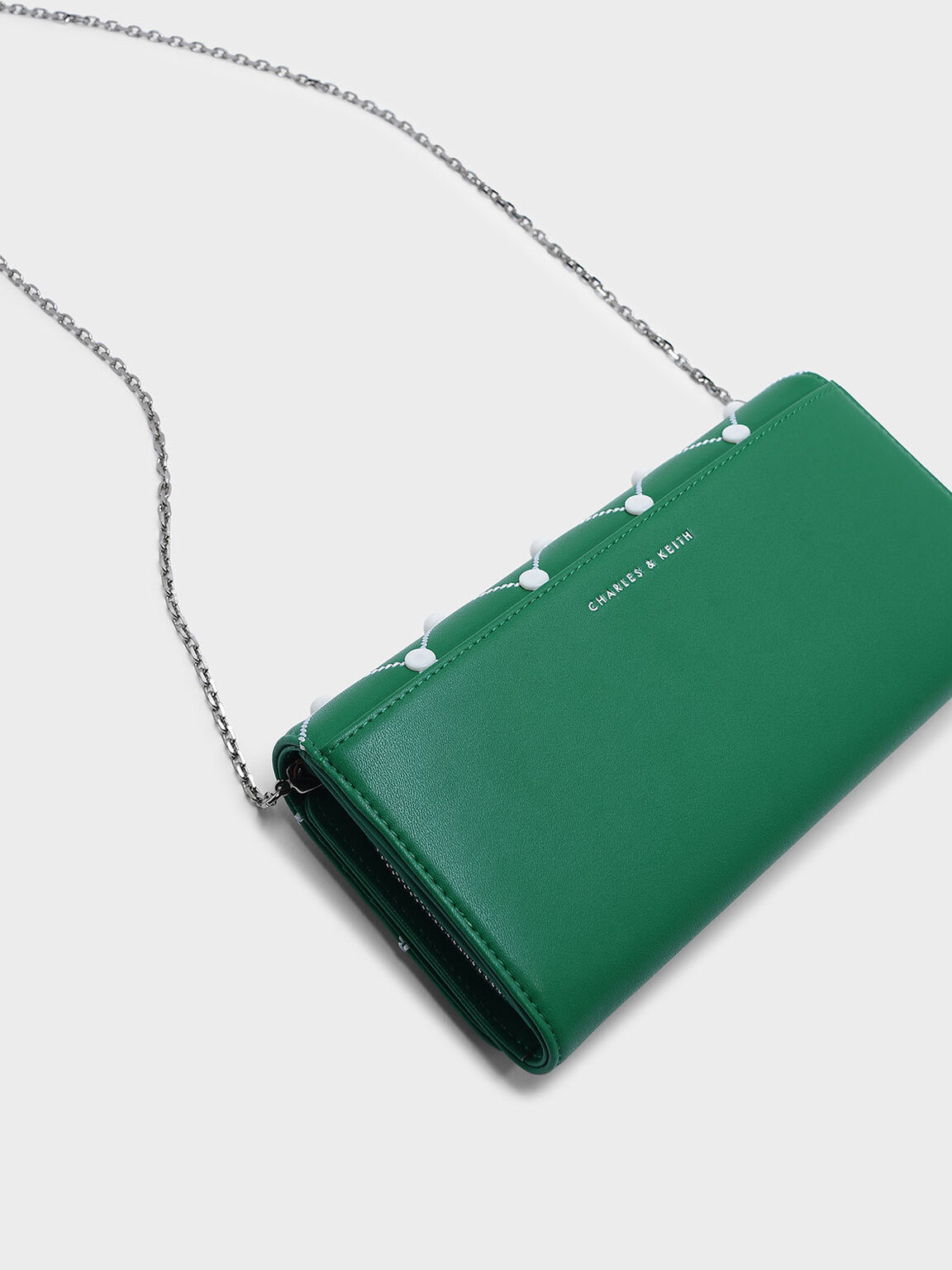 Embellished Quilted Wallet, Green, hi-res