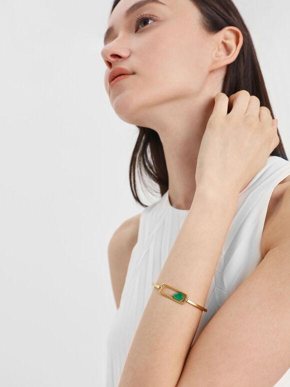 Green Agate Bangle, Gold, hi-res