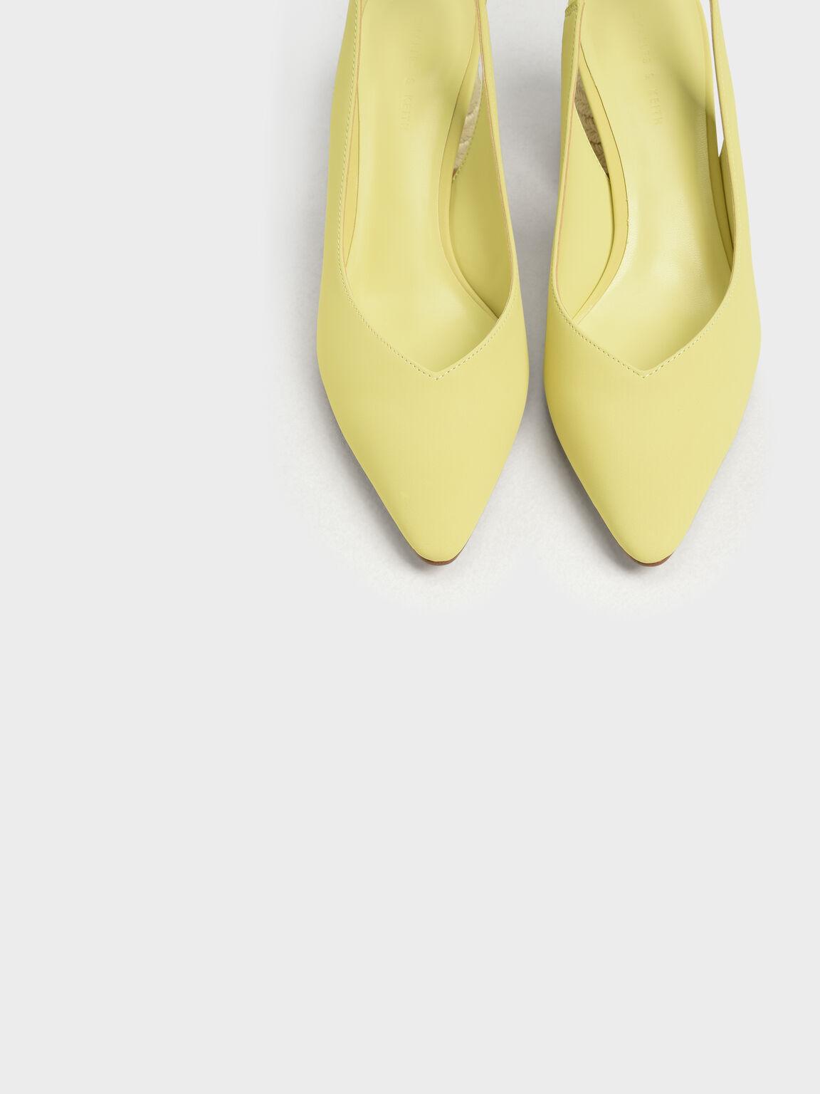 Cylindrical Espadrille Block Heel Slingbacks, Yellow, hi-res