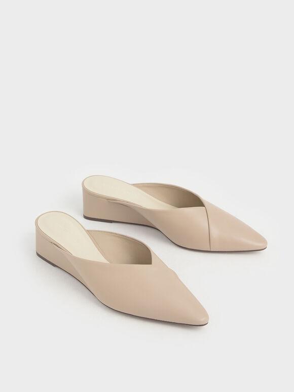 Pointed Toe Wedge Heel Mules, Beige, hi-res