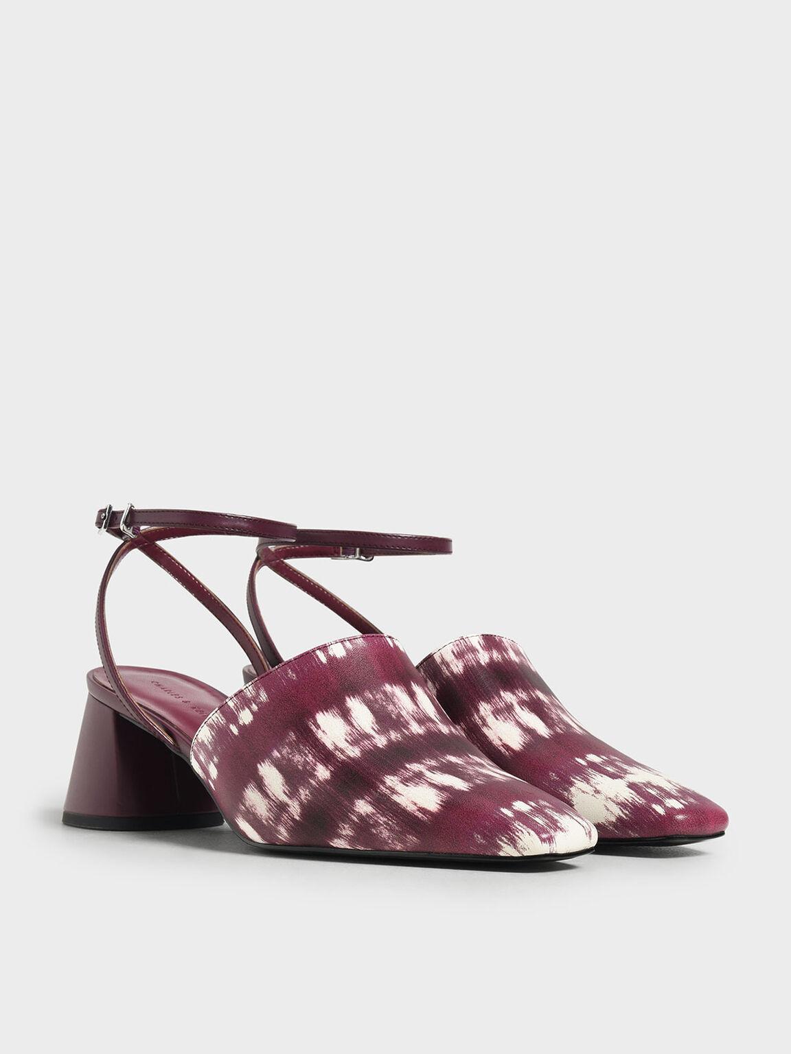 Closed Toe Block Heel Printed Sandals, Burgundy, hi-res