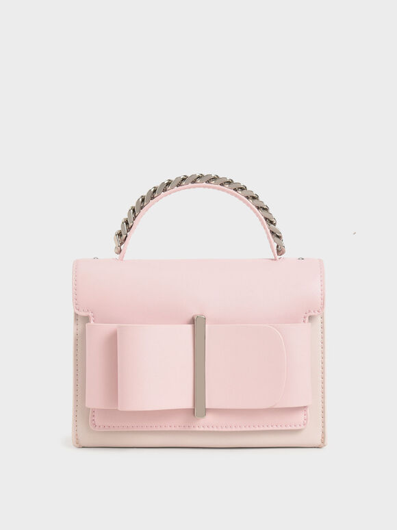 Bow Top Handle Bag, Pink, hi-res