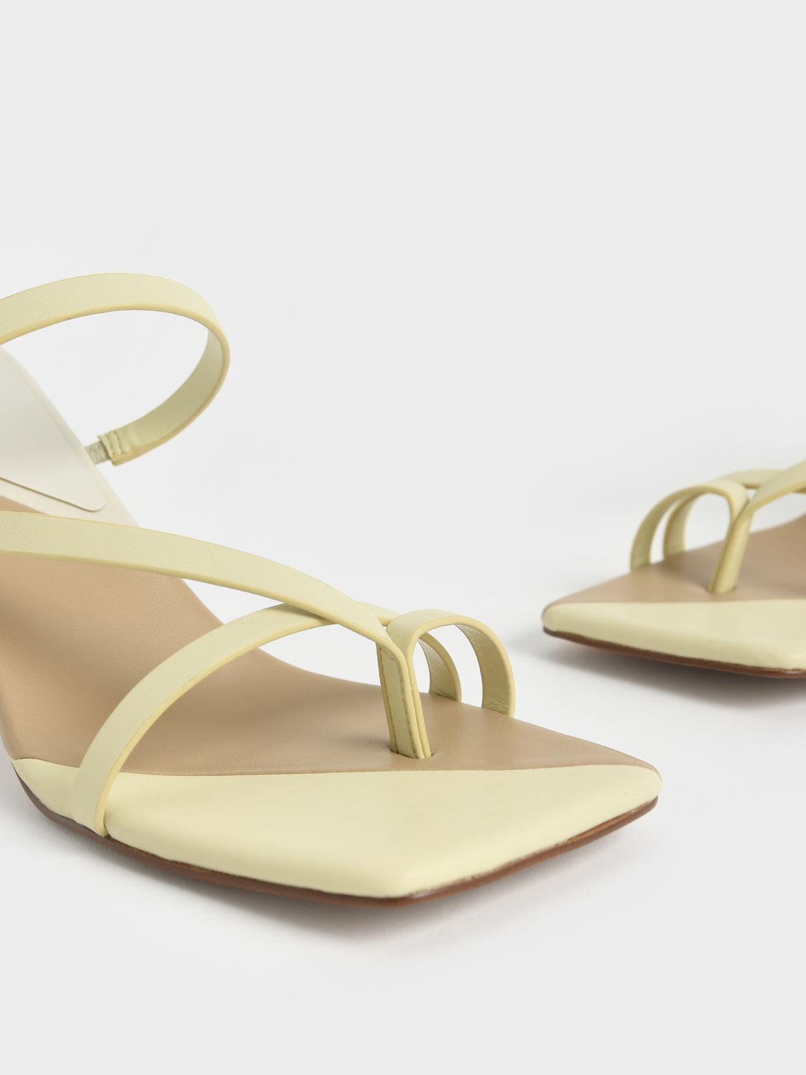 方頭夾腳高跟涼鞋, 黃色, hi-res