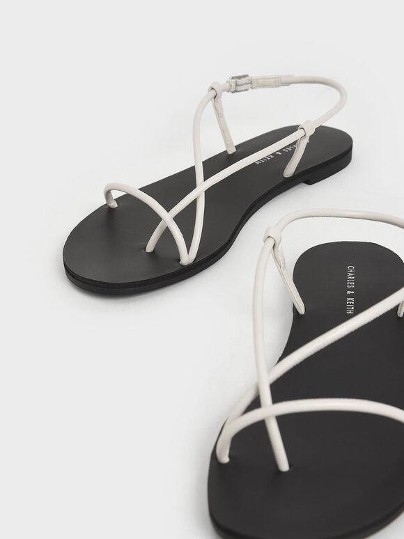 交叉套指涼鞋, 白色, hi-res