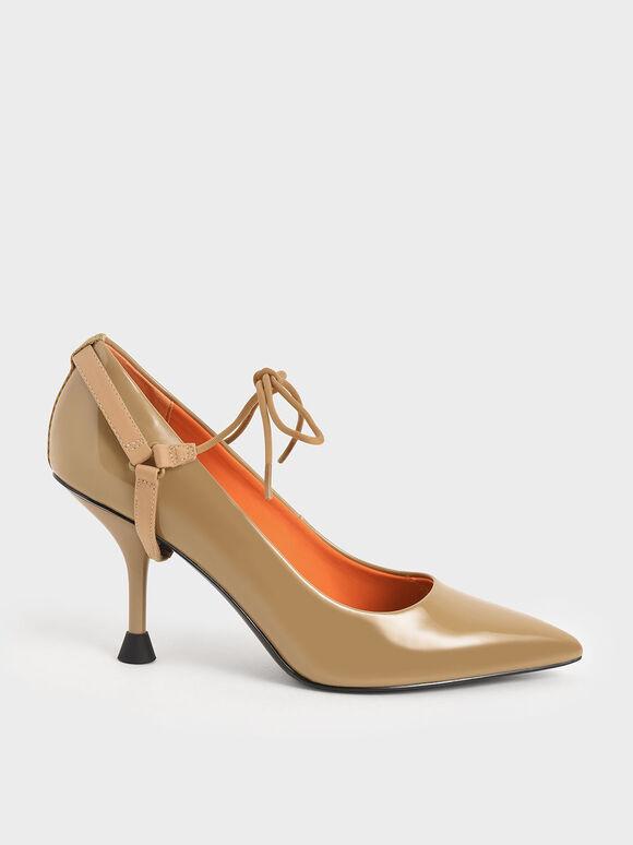 Patent Ankle-Tie Pumps, Sand, hi-res