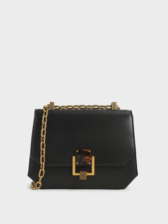 Chain Handle Geometric Crossbody Bag, Black, hi-res