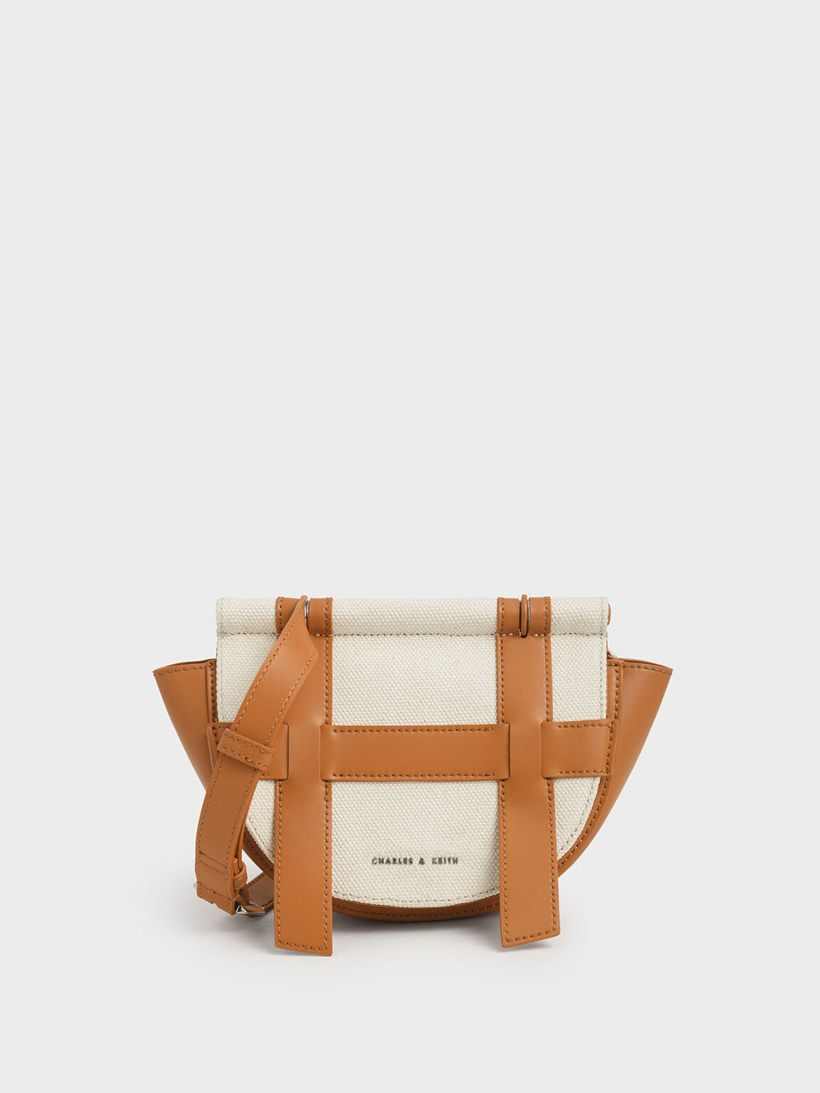 Small Caged Canvas Crossbody Bag, Beige, hi-res
