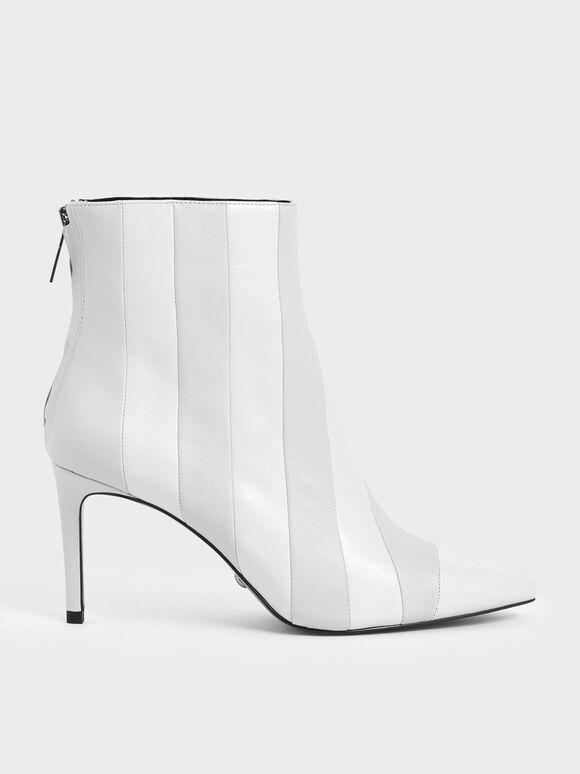 真皮條紋短靴, 白色, hi-res