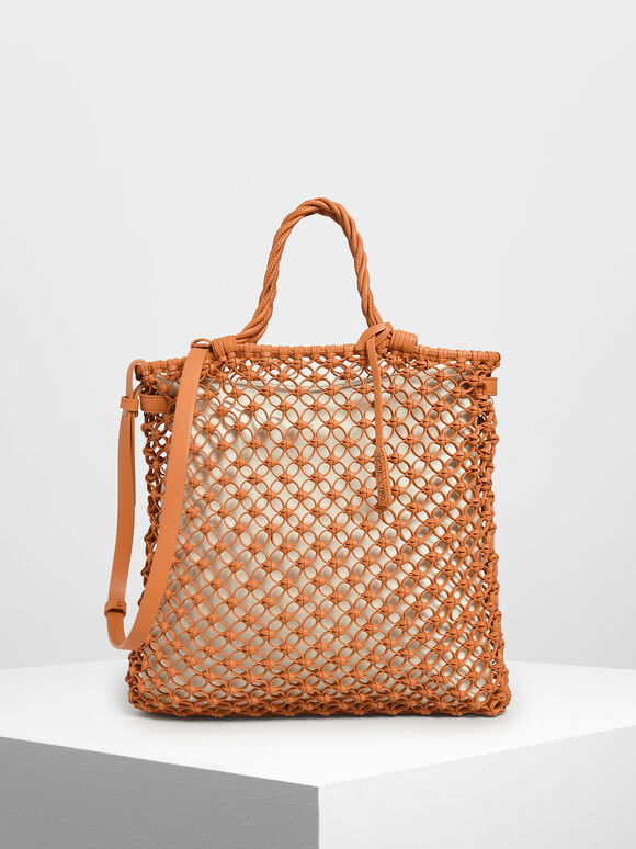 Knitted Tote Bag, Orange, hi-res