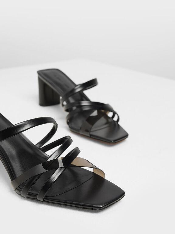 Strappy Open Toe Mules, Black