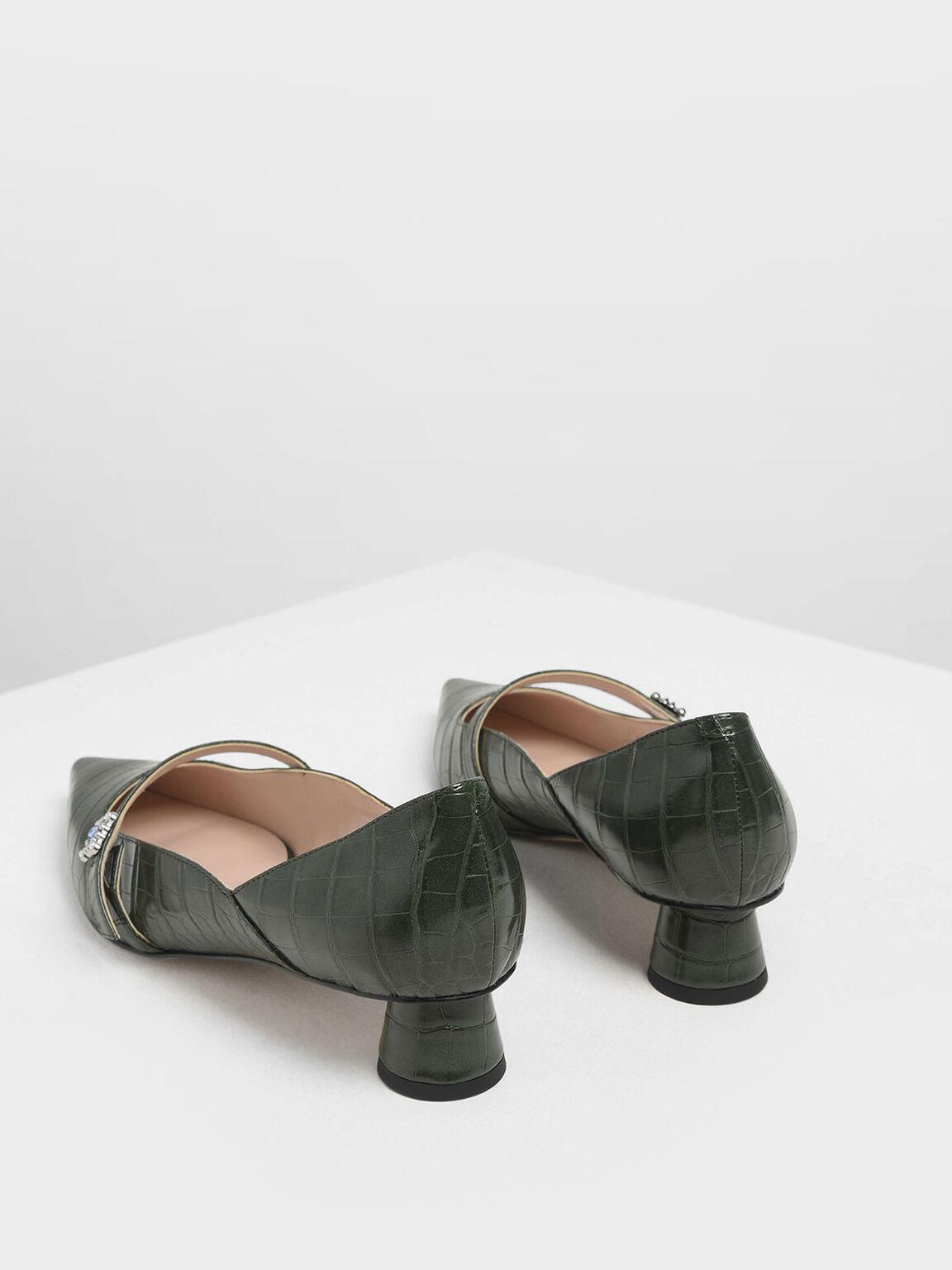 Croc-Effect Gem Embellished Cylindrical Heel Mary Jane Pumps, Green, hi-res