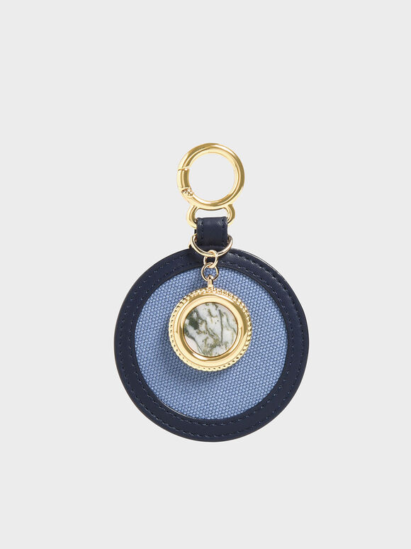 Semi-Precious Stone Round Keychain, Dark Blue, hi-res