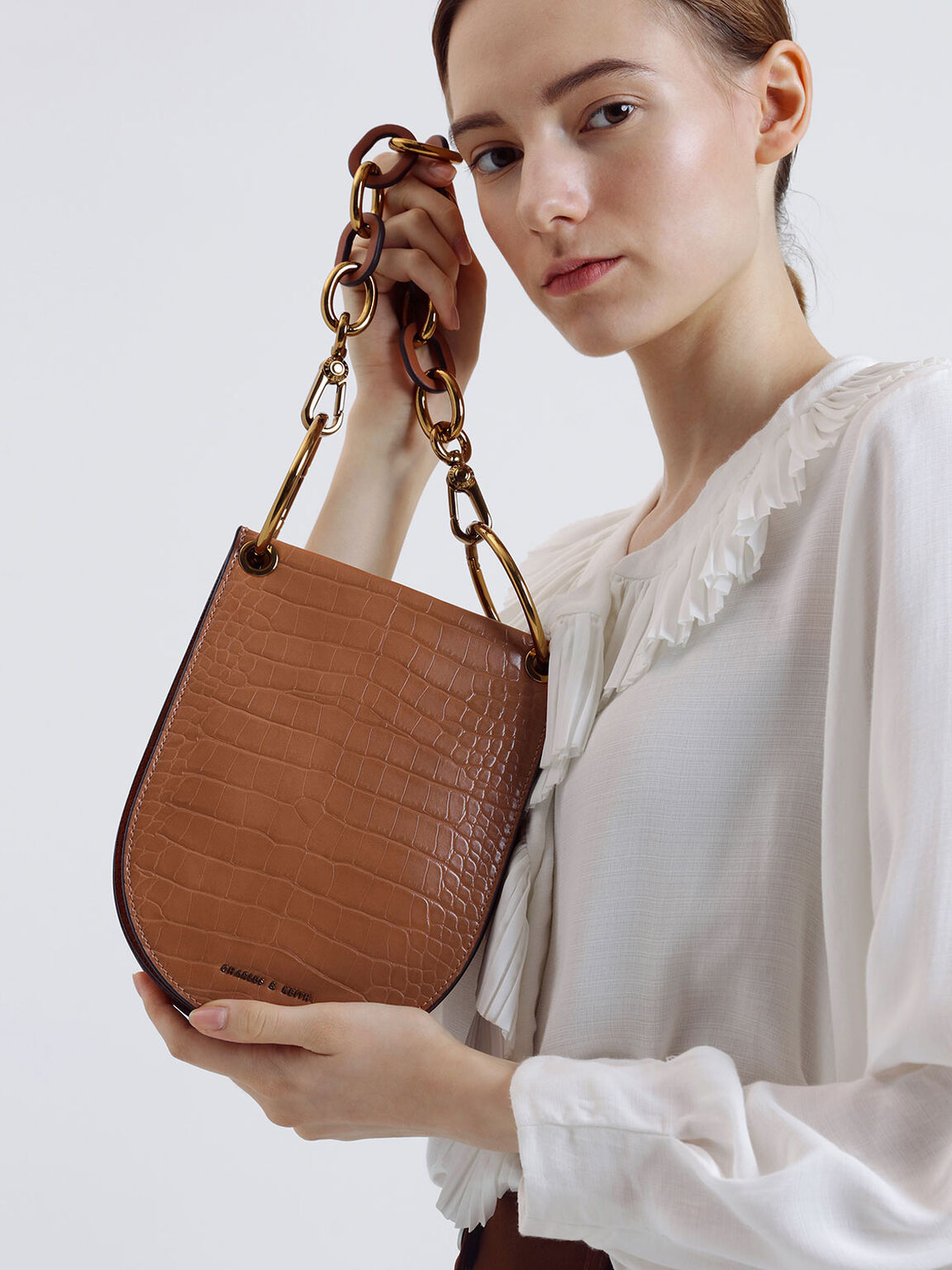 Croc-Effect Chunky Chain Handle U-Shaped Bag, Tan, hi-res