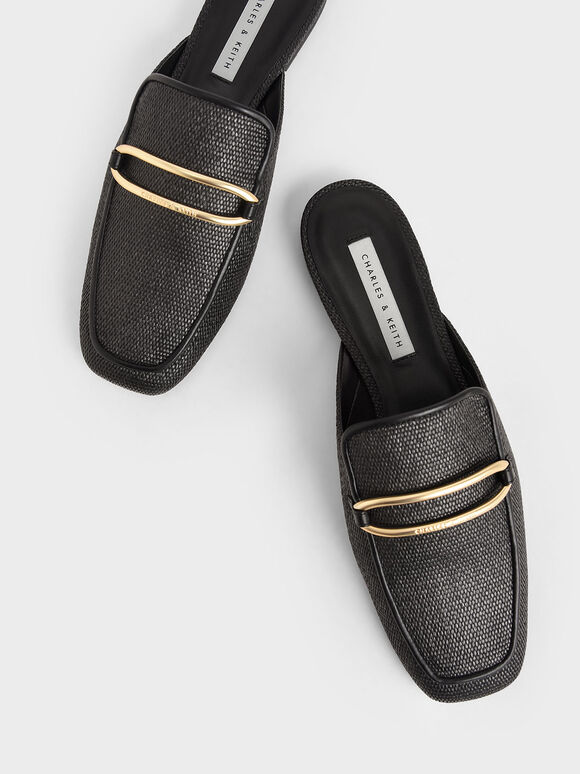 Raffia Metallic Buckle Loafer Mules, Black, hi-res