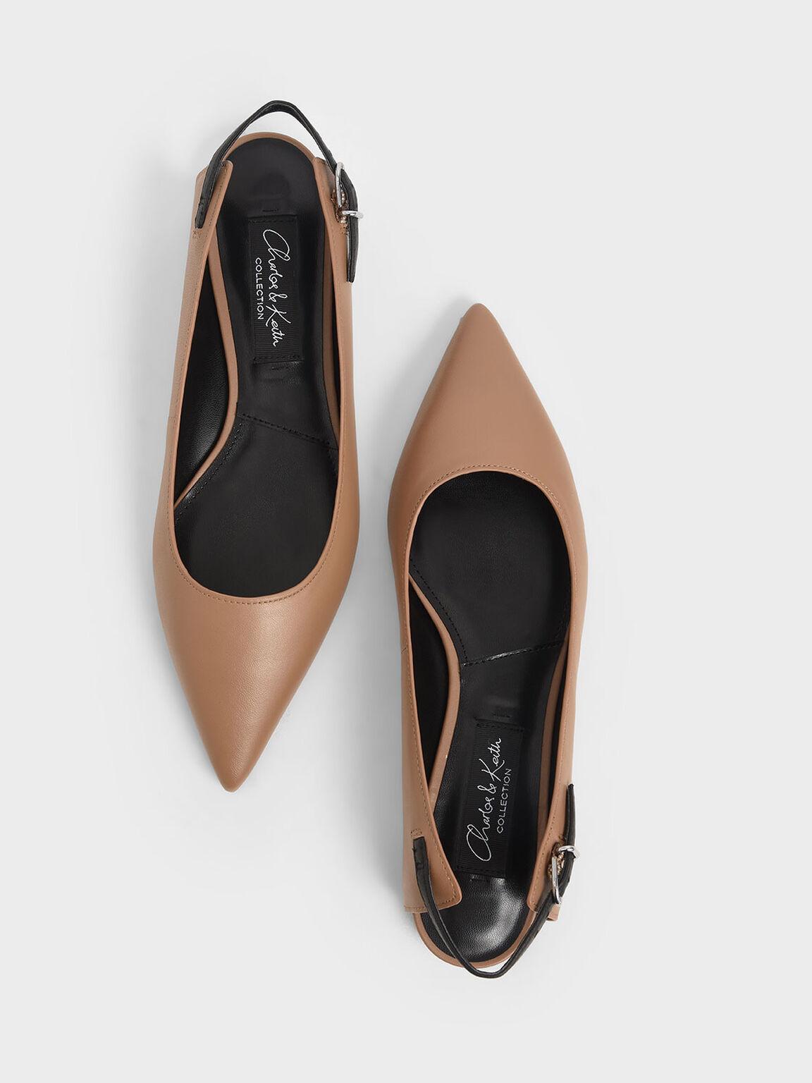 Leather Ballerina Flats, Brown, hi-res