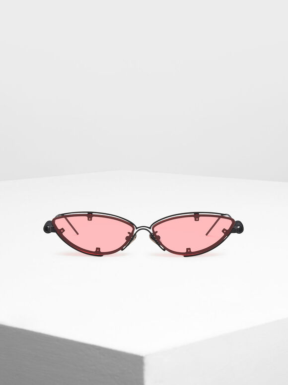 Double Frame Cat-Eye Sunglasses, Red, hi-res