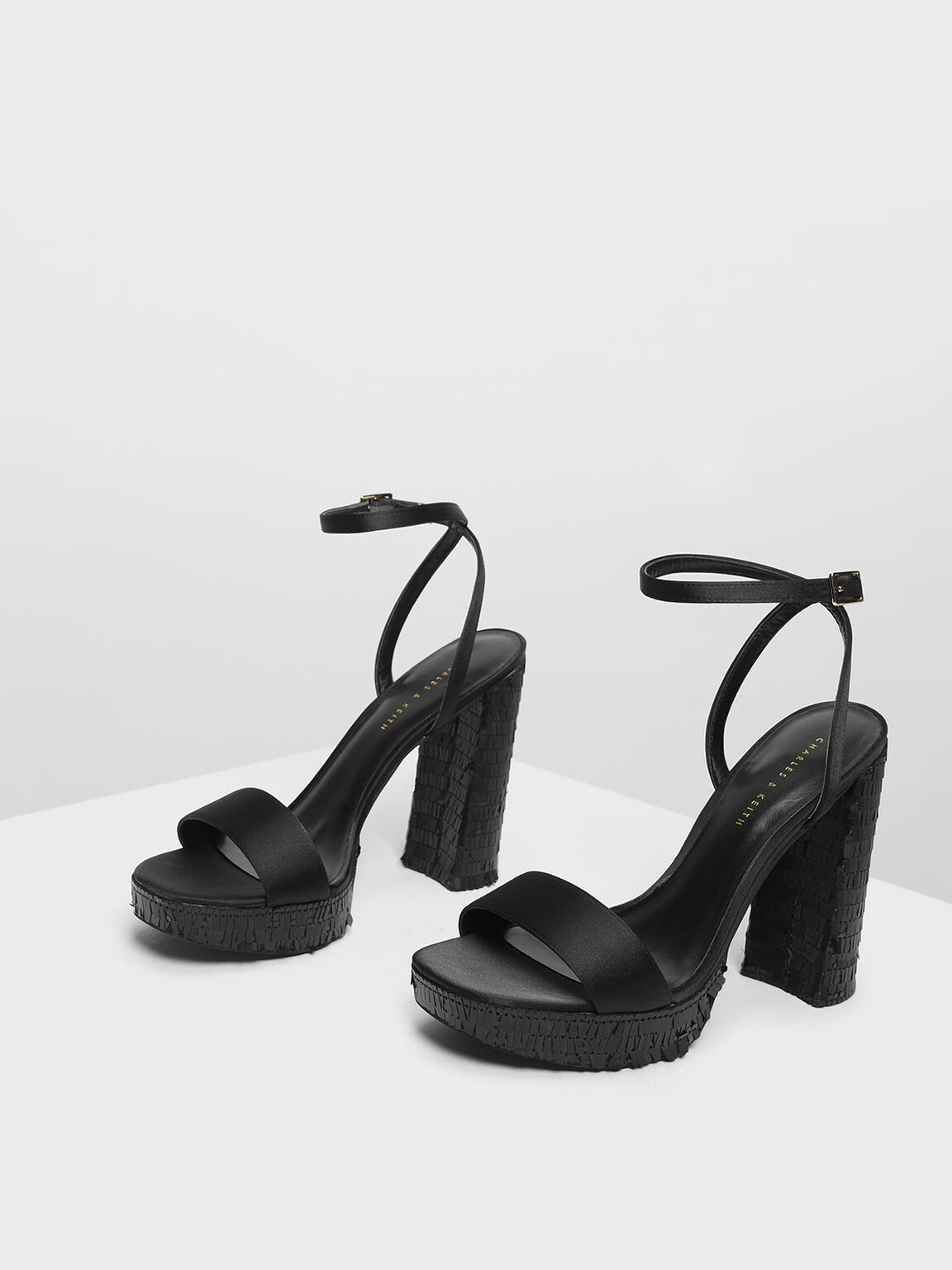 Sequin Platform Heeled Sandals, Black, hi-res