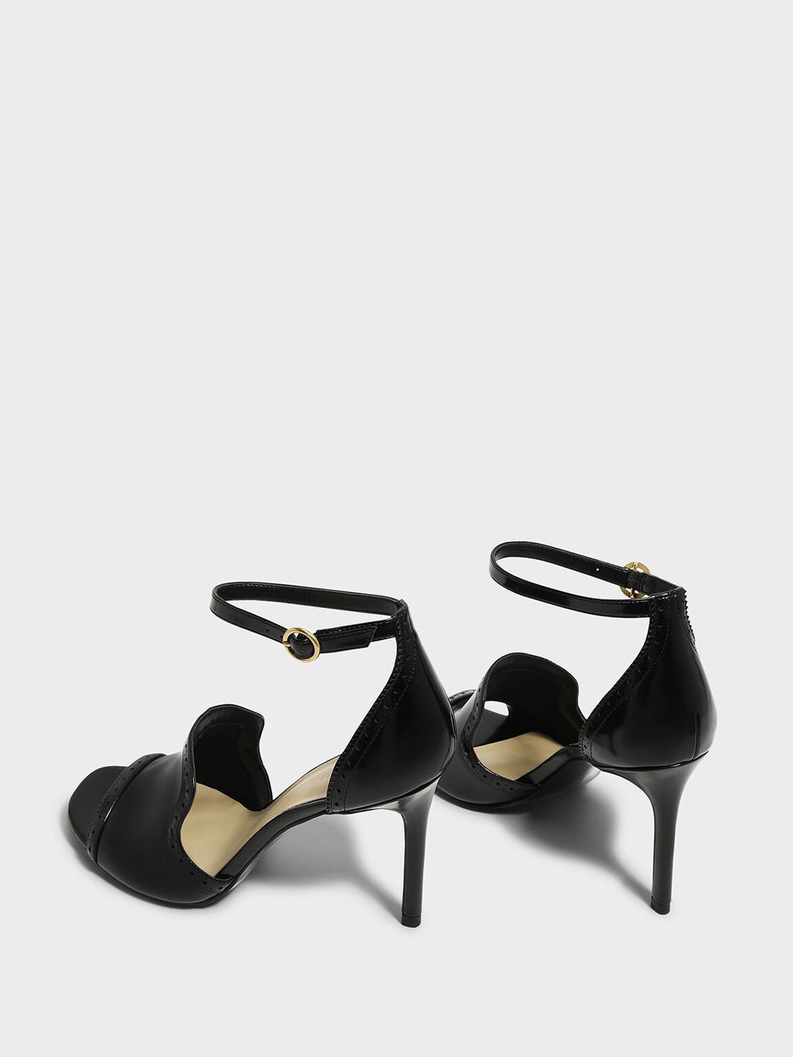 Brogue Detail Heeled Sandals, Black, hi-res