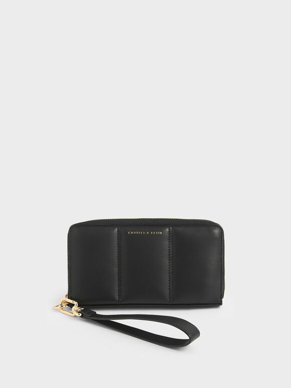 Mini Zip Around Quilted Tassel Wallet, Black, hi-res