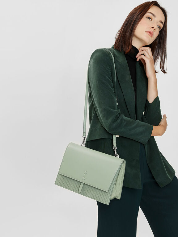 Knotted Detail Handle Bag, Sage Green