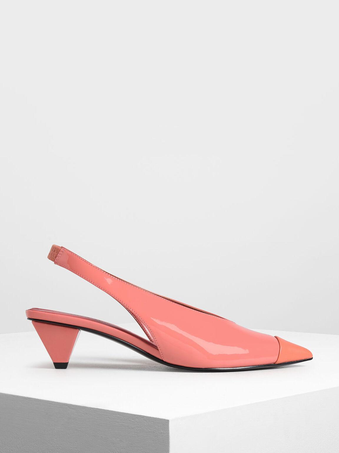Cone Heel Slingback Pumps, Coral Pink, hi-res