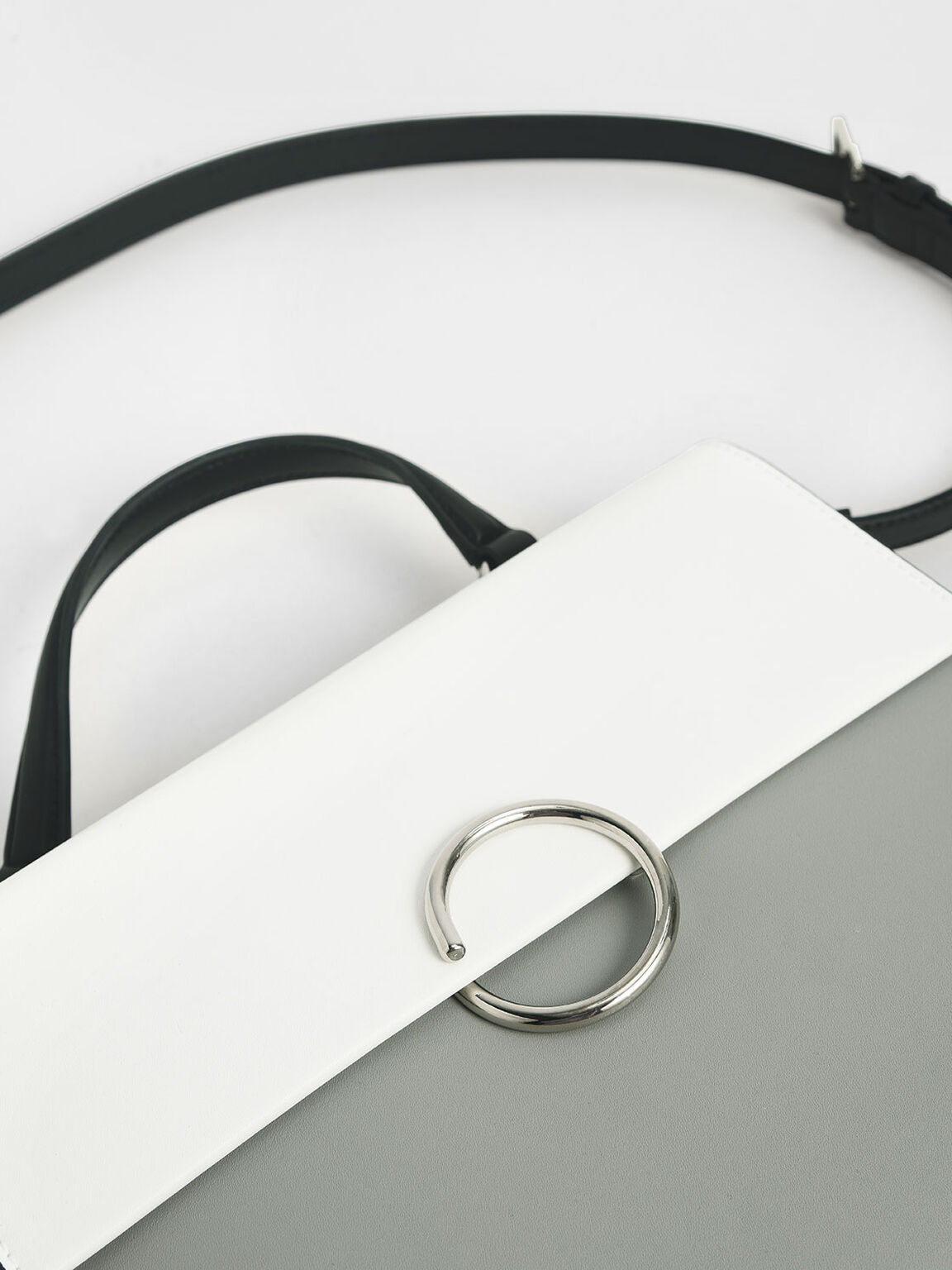 Ring Detail Large Top Handle Bag, Grey, hi-res
