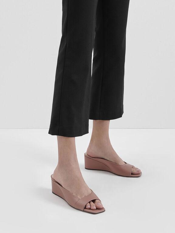 Asymmetrical Open Toe Wedges, Pink