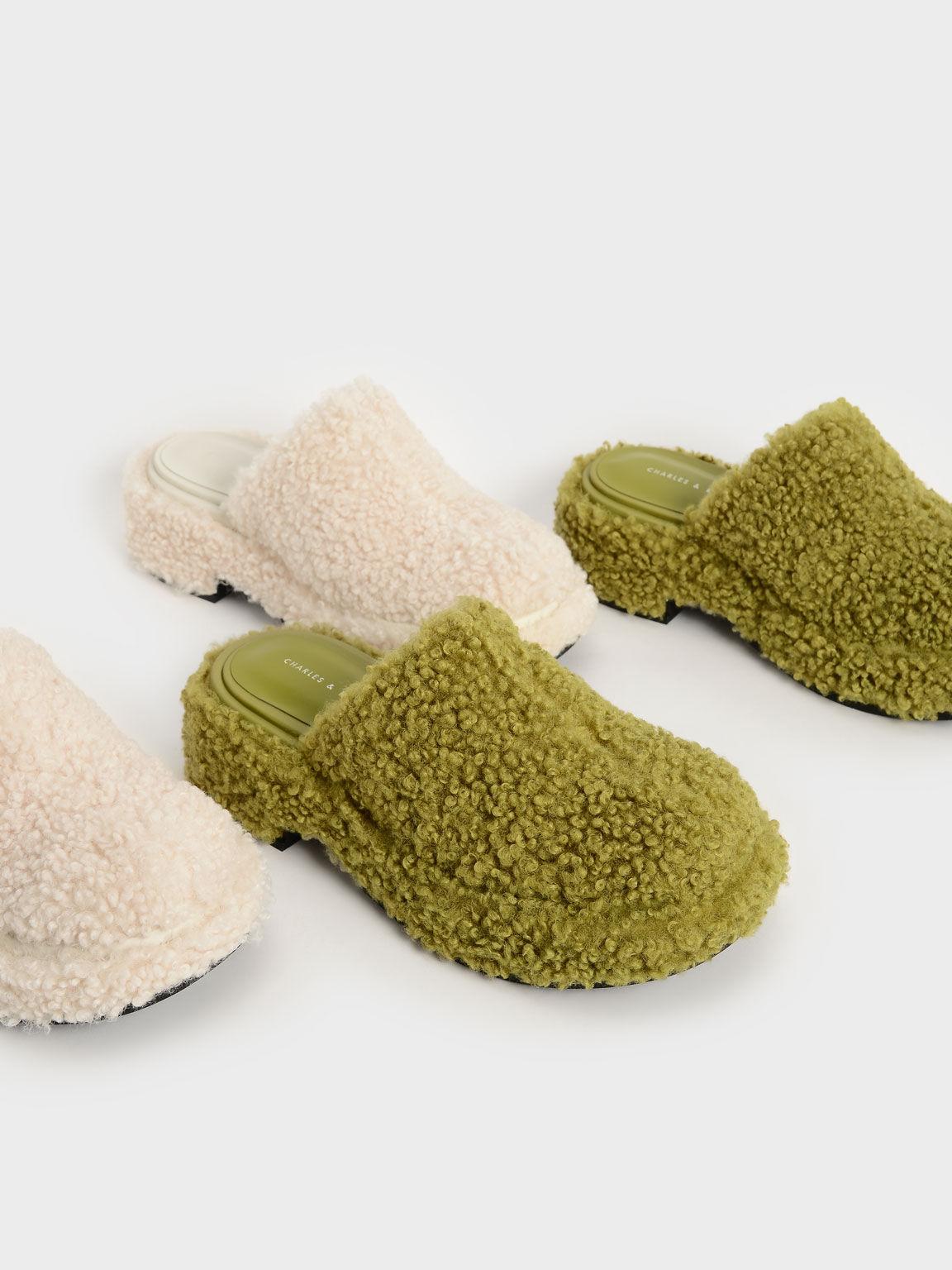 Furry Platform Clogs, Green, hi-res