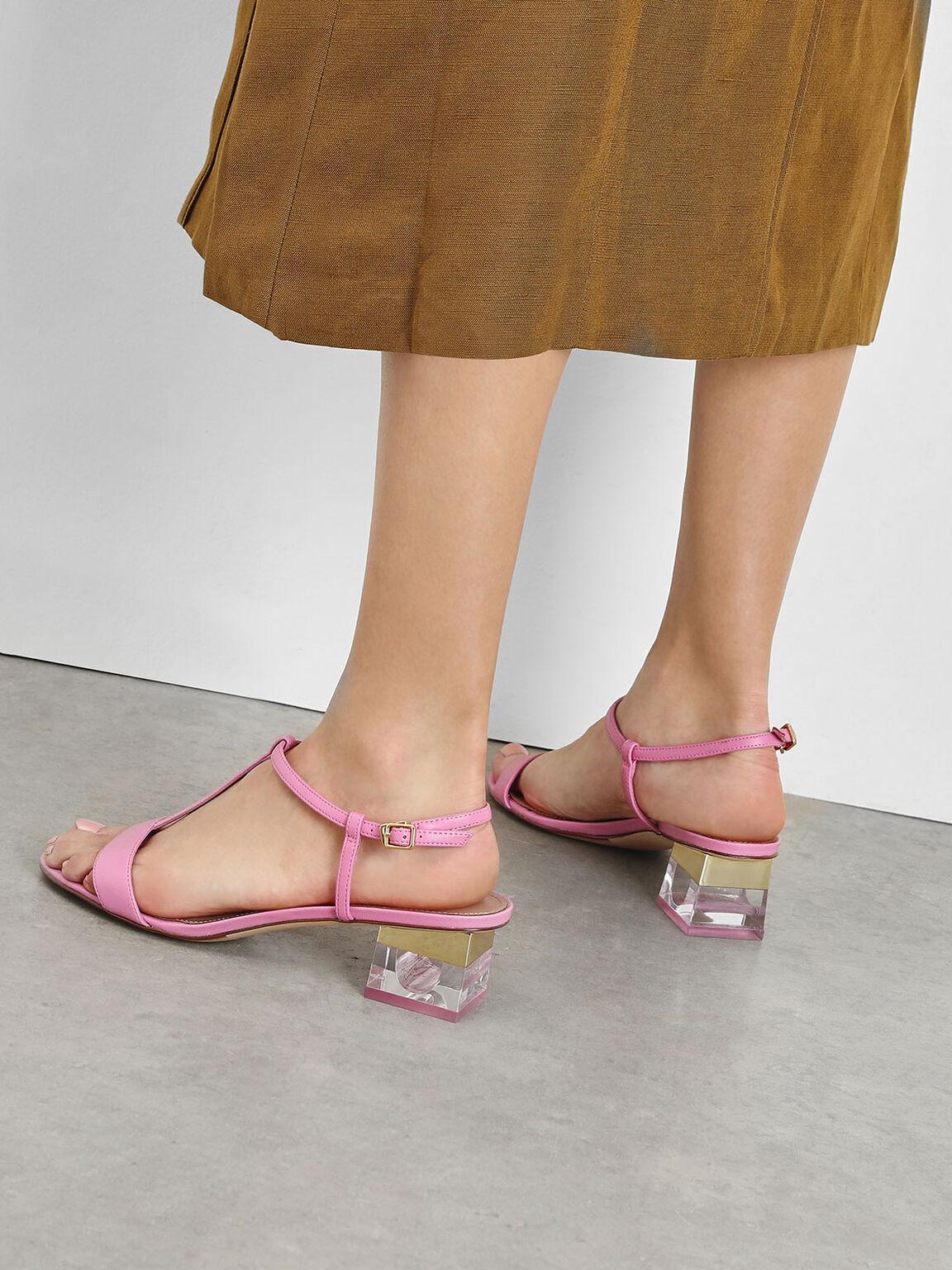 T-Bar Lucite Heel Sandals, Pink, hi-res