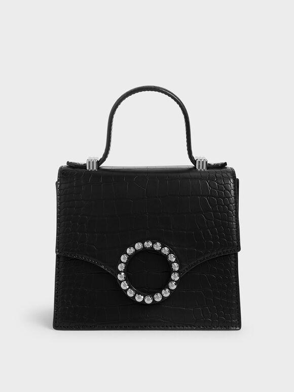 鉚釘扣環手提包, 黑色, hi-res