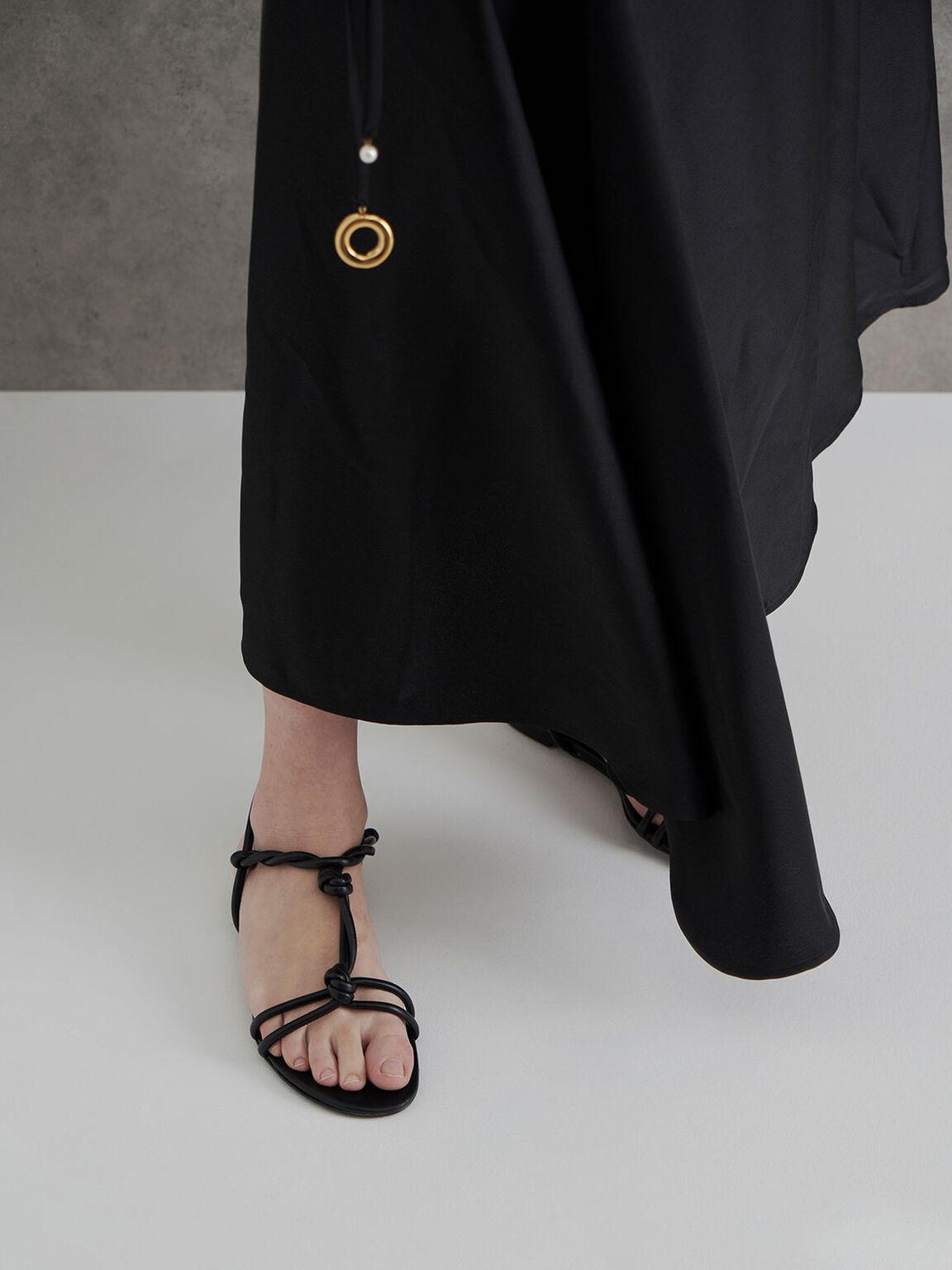 Knotted Strap Sandals, Black, hi-res